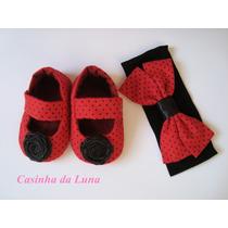 Kit Sapatinho Para Bebês Com Faixa De Cabelo (feminino)