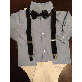 Body Camisa Social Bebe Com Suspensorio Gravata Borboleta