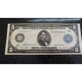 Billete Estados Unidos 5 Dolares 1914. Lincoln. Serie Da
