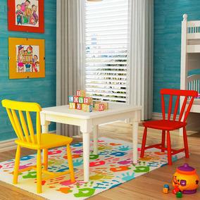 Conjunto Mesa Com 2 Cadeiras Infantis - Madeira Maciça - Aca