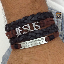 Bracelete Pulseira Masculina Couro Jesus Gospel Evangelica