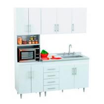 Combo Mueble 140cm De Cocina Alacena + Bajo Mesada + Bacha