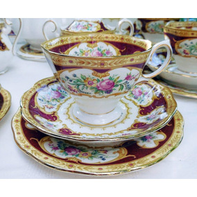 Trio De Porcelana Royal Albert - Lady Hamilton - Bone China