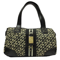 Bolso Tommy Hilfiger Bowler Satchel In Black & Tan Femenino