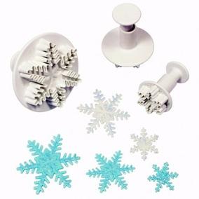 Cortante Expulsor X3 Copos De Nieve Tortas Porcelana Frozen
