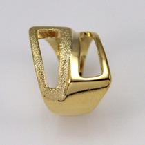 Anel Duplo Espelhado E Fosco Banhado Em Ouro 18k Puro Luxo
