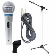 Microfone Profissional Leson Mc-200 + Pedestal Ibox + Cabo