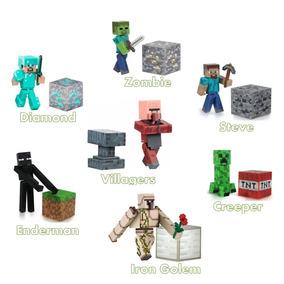 Kit 7 Bonecos Minecraft Steve Diamond Creeper Ederman Iron