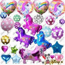 Paquete De 50 Globos My Little Pony Metalico Estrellas Polka