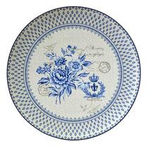 Prato Blue Dream Estampa Portuguesa Azul/branco Em Porcelana