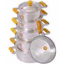Jogo Panelas Aluminio Batido Fundido +frigideira Tampa Vidro