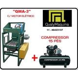 Máquina Pneumática P/ Bloco De Concreto + Compressor 15 Pés