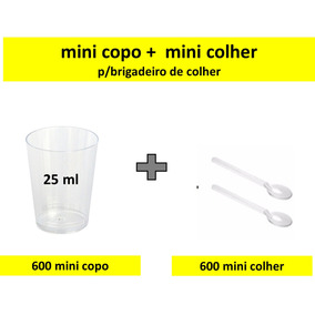 600 Copinho P/doces Acrilico 25ml + Mini Colher 600 Unidades