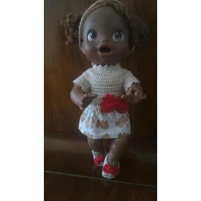 Roupinha Para Baby Alive De Crochê E Pano Bege E Vermelha