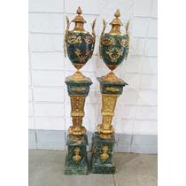 Colunas De Mármore Crema Com Apliques Em Bronze