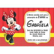 Minnie Convites Aniversário 10x7cm Personalizados (50 Unid.)