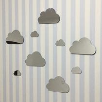 Kit Com 9 Espelhos Decorativos Casa Quarto Sala Parede Nuvem
