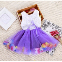 Vestido De Festa Infantil Pétalas Pronta Entrega - Novo