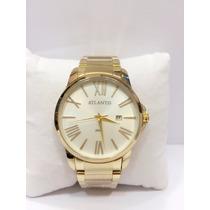 Relógio Atlantis Original Dourado Lindo Aço Homem Prata