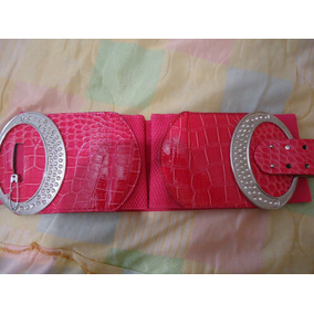 Cinturon Fiusha Hebilla Plateada Dama Talla Extra