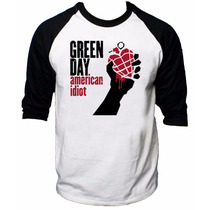 Camisa Raglan 3/4 Green Day American Idiot Rock Camiseta Joe