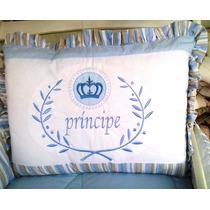 Kit Berço Tema Principe Realeza Azul Listra Coroa Bordado 9p