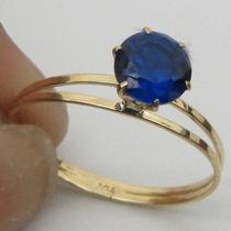 1102 Anel Solitário De Safira Azul Ouro 18k 750 Rpw