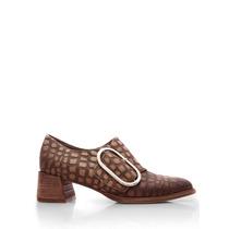 Zapato Cuero Croco Sahara Hebilla Lateral Base Suela Blaque