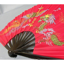 Abanico Rojo De Bambu Funcional Para Entrenamiento Taichi