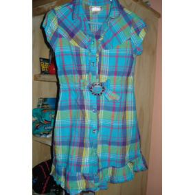 Vestido Azul A Cuadros Para Niña Talla 6 Dmm