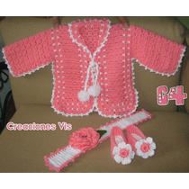 Conjuntos P/ Bebé Crochet Tejido Zapatitos Chambrita Y Tiara