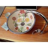 Pileta Baño Ceramica Artesanal Flores Rustica Colores