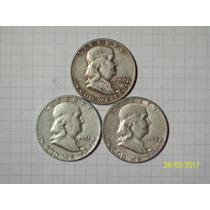 Estados Unidos 1/2 Dólar Plata 1950-51-52 Lote 3 Piezas 37,5