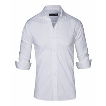 Camisas Hombre Entalladas Elastizadas Lisas