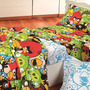 Colchon + Juego De Sabanas Angry Birds Rojo 1 ½ Plaza