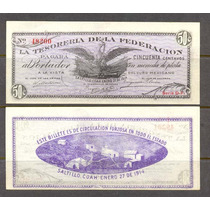 Si-coa-7 Billete De Coahuila De 50 Centavos