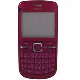 Carcaça Completa Do Celular Nokia C3-00 Cor Rosa L060pj