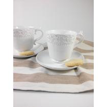 Taza Ceramica Blanca De Té Con Plato Diseño Flor De Lis