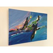 Cuadro Pintado A Mano - Abstracto - Serie Agua - 70 X 50