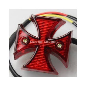 Mini Lanterna Cruz De Malta Para Motos Custom Chopper Bobber