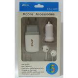 Conjunto 4 Em 1 Acessórios Fone + Carregadores + Usb Iphone