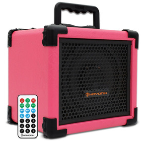 Caixa Som Amplificada Rosa Banda Mulher Guitarra Microfone