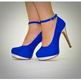 Zapatos Stilettos Antilope Azul/plata Imperio Indigena19048