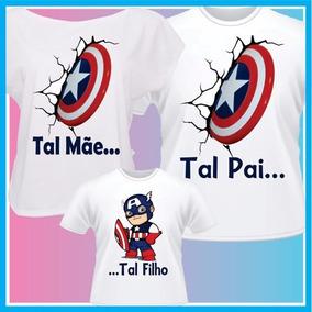 Kit Familia Tal Mae, Tal Pai E Tal Filho Capitão América