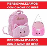 Mochila Infantil Personalizada Gatinha G + P Bordamos O Nome