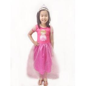 Vestido Infantil Ana Frozen Com Coroa Incluso Pronta Entreg