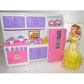 Cozinha Maravilha Barbie Geladeira Fogão Armario Panelinhas
