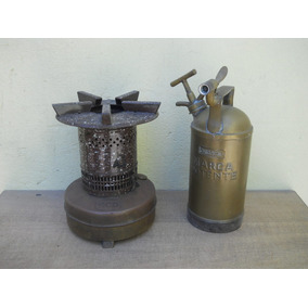Set De Calentador A Kerosene Y Fumigador De Bronce Antiguos!