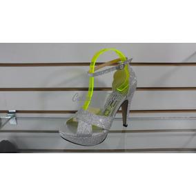 Sandalia De Vestir Taco 12 Con Plataforma Color Plateado