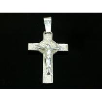 Dije Cruz Cristo Y San Benito Plata 925